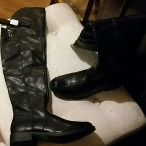 NWOT BLACK OVER THE KNEE LEATHER BOOT